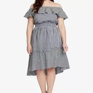 NWT Rachel Roy Ava Gingham Off Shoulder Dress 1X